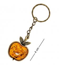AM-1624 Брелок Яблочко Наливное  латунь, янтарь