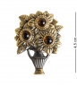 AM-1627 Брошь  Ваза Летняя   латунь, янтарь