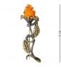 AM-1629 Брошь  Розочка Бутон   латунь, янтарь