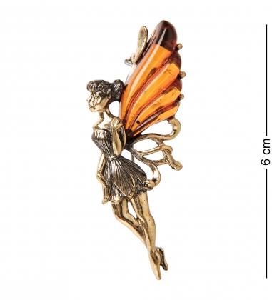 AM-1632 Брошь  Фея Динь-Динь   латунь, янтарь