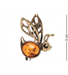 AM-1634 Брошь «Пчелка Майя»  латунь, янтарь