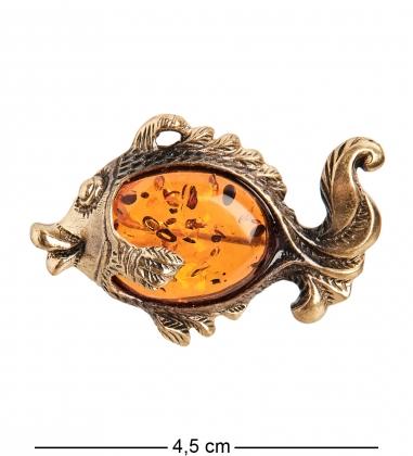 AM-1642 Брошь  Рыбка Вуалехвост   латунь, янтарь