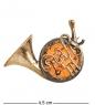 AM-1645 Брошь  Тромбон   латунь, янтарь
