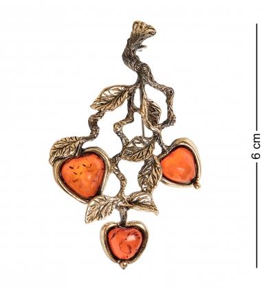 AM-1647 Брошь  Яблочки на ветке   латунь, янтарь