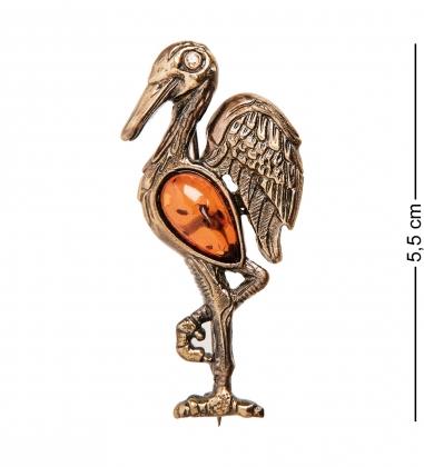 AM-1648 Брошь  Аист   латунь, янтарь