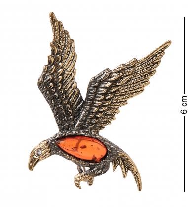 AM-1651 Брошь  Орел   латунь, янтарь