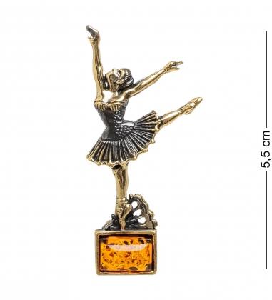 AM-1652 Брошь  Балерина   латунь, янтарь