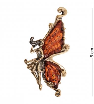 AM-1653 Брошь  Бабочка Фея Ажурная   латунь, янтарь