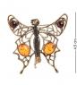 AM-1656 Брошь  Бабочка Леди-мотылёк   латунь, янтарь