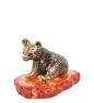 AM-1668 Фигурка  Медведь лопоухий   латунь, янтарь