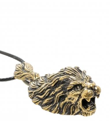 AM-1684 Подвеска «Лев»  латунь, янтарь