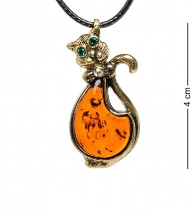AM-1688 Подвеска  Кот с бантиком   латунь, янтарь