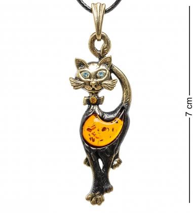 AM-1689 Подвеска  Кошка гламурная   латунь, янтарь