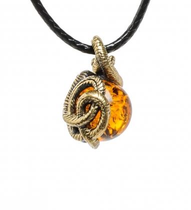 AM-1695 Подвеска  Змейка   латунь, янтарь