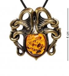 AM-1697 Подвеска «Осьминог»  латунь, янтарь