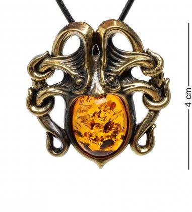 AM-1697 Подвеска  Осьминог   латунь, янтарь