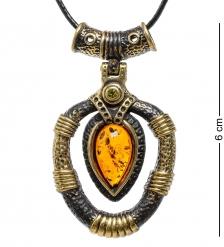 AM-1703 Подвеска «Африканская»  латунь, янтарь