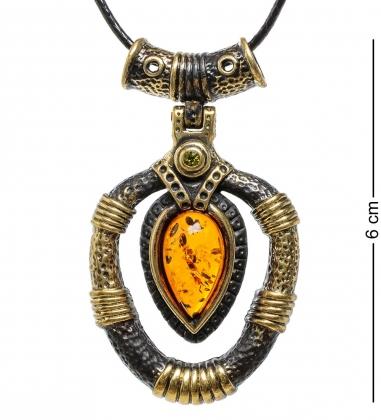 AM-1703 Подвеска  Африканская   латунь, янтарь