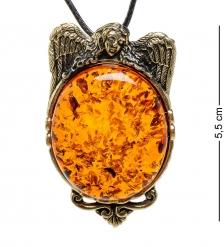 AM-1712 Подвеска «Ангел»  латунь, янтарь