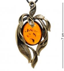 AM-1713 Подвеска «Ивушка»  латунь, янтарь