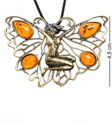 AM-1716 Подвеска  Бабочка Спящая фея   латунь, янтарь