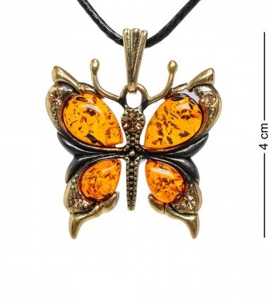 AM-1717 Подвеска  Бабочка со стразами   латунь, янтарь