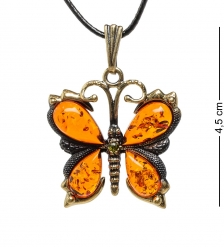 AM-1718 Подвеска «Бабочка»  латунь, янтарь