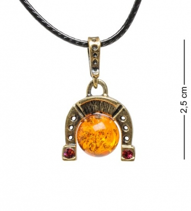 AM-1720 Подвеска  Подкова с шариком  мал.  латунь, янтарь