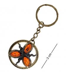 AM-1723 Брелок «Зачарованые»  латунь, янтарь