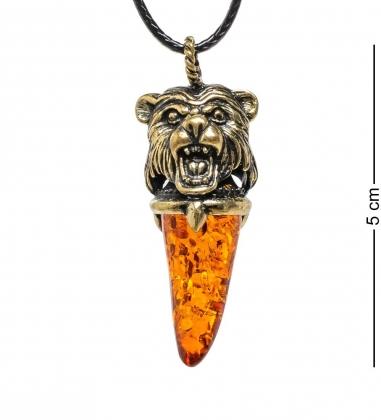 AM-1726 Подвеска  Клык медведя   латунь, янтарь