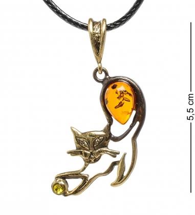 AM-1729 Подвеска  Кошечка с мячиком   латунь, янтарь