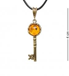 AM-1734 Подвеска Золотой ключик  латунь, янтарь