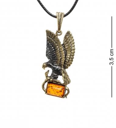 AM-1741 Подвеска  Орел со змеей   латунь, янтарь