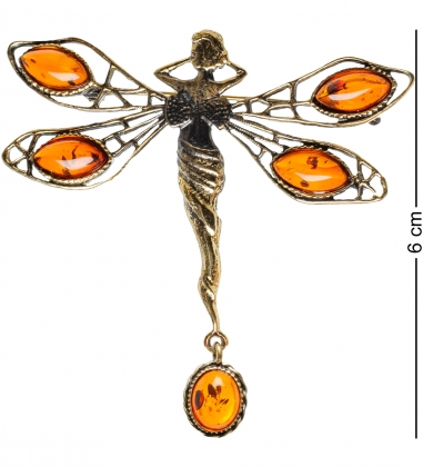 AM-1746 Брошь  Стрекоза Фея с бантиком   латунь, янтарь