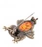 AM-1747 Брошь  Совушка Красотка   латунь, янтарь