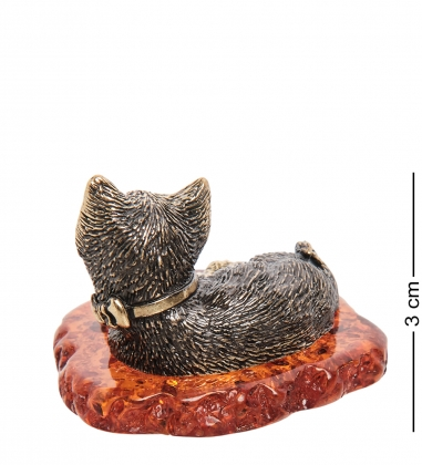 AM-1749 Фигурка  Кот Рафаэль   латунь, янтарь