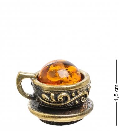 AM-1755 Фигурка  Чашечка   латунь, янтарь