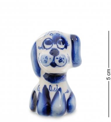 ГЛ-435 Фигурка Собака Бади мал.   Гжельский фарфор
