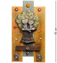 KK-533 Панно  Коты на дереве  шамот