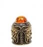 AM-1770 Наперсток  Бабочка Ажурная   латунь, янтарь