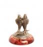 AM-1783 Фигурка  Знак зодиака-Рыбы   латунь, янтарь