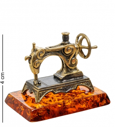 AM-1786 Фигурка  Швейная машинка   латунь, янтарь