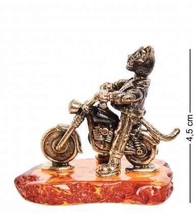 AM-1790 Фигурка  Кот байкер   латунь, янтарь