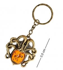 AM-1800 Брелок «Осьминог»  латунь, янтарь