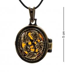 AM-1805 Подвеска «Медальон Вьюнок»  латунь, янтарь