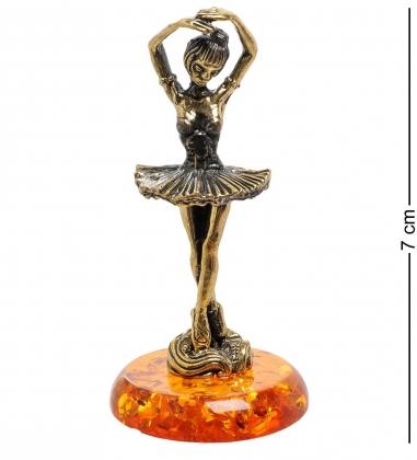 AM-1814 Фигурка  Балерина   латунь, янтарь