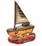 AM-1818 Фигурка Яхта  латунь, янтарь