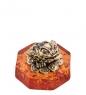AM-1820 Фигурка  Лягушка фэншуй с монетами   латунь, янтарь