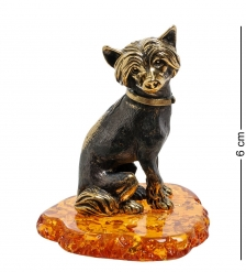 AM-1830 Фигурка  Собака-Китайская хохлатая   латунь, янтарь