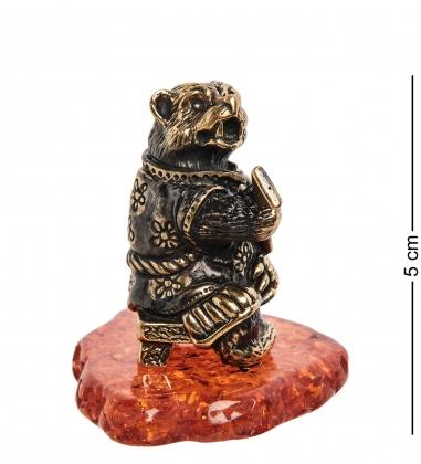 AM-1836 Фигурка  Медведь музыкант   латунь, янтарь